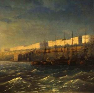 И. К. Айвазовский. «Одесса. Набережная» 1840 г.Эта картина позволяет нам увидеть первоначальный вид Потёмкинской лестницы незадолго перед её здачей в эксплуатацию.